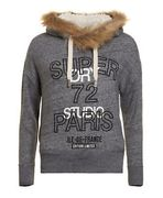 Womens Superdry Unique Sample Applique Slouch Hoodie Size XS Stone Marl Nep