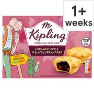 Mr Kipling Fruit Pies 6pk , Apple, Apple & Blackcurrant or Mixed Selection Pack