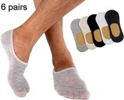 [6 Pairs] Men's Invisible Low Cut No Show Thin Socks with Silicone No-Slip Grip