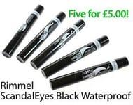 5 X Rimmel Scandal Eyes Jumbo Waterproof Liquid Eye Liner Black