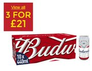Budweiser Lager Beer Cans. 3 for £21