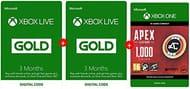 Xbox Live 3m Gold Membership + 3m FREE + Apex 1000 Coins FREE