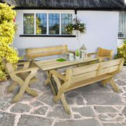 Forest Grizedale Wooden Garden Table 5'x2' (1.5x0.6m)