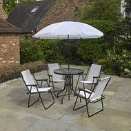 6 Piece Cream Garden Furniture, Patio Set Inc. 4 X Chairs, Table & Parasol