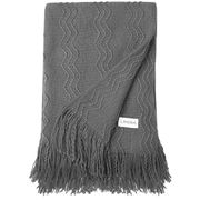 LANGRIA Premium Knitted Throw Blanket with Tassels, Super Soft