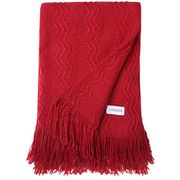 LANGRIA Premium Knitted Throw Blanket with Tassels, (Red)