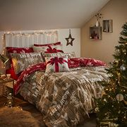 Catherine Lansfield Christmas Garland Duvet Set - Red/Natural, Double