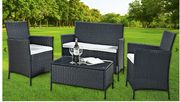 4-Piece Rattan Furniture Set with Cushions for £99!