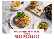 Two Courses from £14.95 + a Free Glass of Prosecco at Cafe Rouge