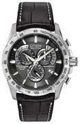 Citizen Men's Eco-Drive Chronograph Watch with a Black Dial and a Black Leather