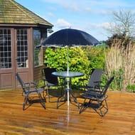 Rimini 6 Piece Garden Patio Furniture Set - Table, Parasol & 4 Chairs