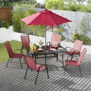 Palma Seven Piece Dining Set - Red