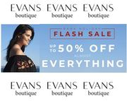 EVANS Flash Sale! up to 50% off Almost Everything