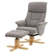 Whitham Swivel Recliner Chair & Footstool - Grey
