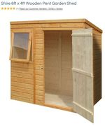 SAVE £30 - Shire 6ft X 4ft Wooden Pent Garden Shed