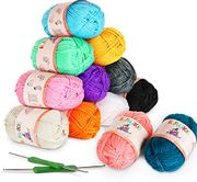 12 X 50g Balls of Assorted Double Knitting Yarn + 2 Crochets Ilauke Coloured