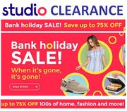 STUDIO Bank Holiday CLEARANCE SALE - up to 75% OFF