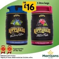 5 Litre Kegs of Kopparberg Mixed Fruit or Blueberry & Lime Cider £16