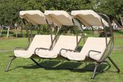 3-Seater Outdoor Swing Chair W/ Removable Canopy & Cup Holders