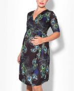 MATERNITY Peacock Feather Wrap Dress