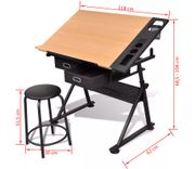 Tiltable Tabletop Drawing Table with Stool