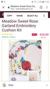 Meadow Sweet Rose Garland Embroidery Cushion Kit