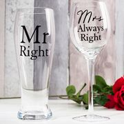 Wine & Pint Glass Set - Mr Right & Mrs Always Right + Xtra 10% off with Code