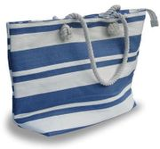 New England Canvas Cream/blue Stripe Nautical Tote Shopping Bag