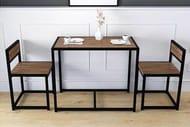 3pc Steel & Wood Space Saving Dining Furniture Set