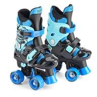 Children's Electric Blue Quad Skates, Kids Adjustable Roller Skates, 10-12