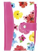 Slim Pink & White Floral Burst Leather Bound Pocket Notebook & Pen Set