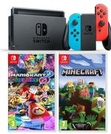 NINTENDO Switch Neon Red, Blue, Minecraft & Mario Kart 8 Deluxe Bundle Only £309