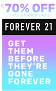 LAST CHANCE LINES - up to 70% off at FOREVER 21