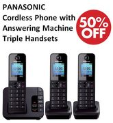 1/2 PRICE! PANASONIC Cordless Phone with Answering Machine - Triple Handsets