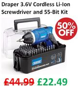1/2 PRICE - Draper 3.6V Cordless Li-Ion Screwdriver and 55-Bit Kit