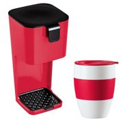 Koziol Unplugged Coffee Maker with Aroma to Go Cup - Raspberry
