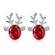 Gemstone Earrings Luxury Three Dimensional Christmas Reindeer Earing