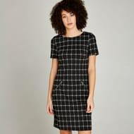 Black Window Check Longline Shift Dress