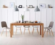 Verona 180cm Solid Oak Dining Table with 6 Nordic Wooden Leg Chairs