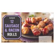 Iceland 12 Sausage & Bacon Rolls 276g ONLY 50p