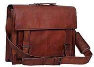 """True Grit Leather 18"""" Mens Leather Messenger Briefcase Shoulder Laptop Case"""