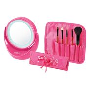 Cosmetics Brushes and Light-up Mirror Vanity Gift Set