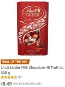 SAVE £4.50 - Lindt Lindor Milk Chocolate 48 Truffles, 600g