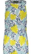 URBAN THREADS Blue Leaf Print Vest