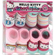Hello Kitty Four Pack Teal & Pink Booties - 0-12 Months