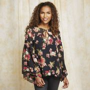 Laura Ashley Bell Sleeve Floral Print Blouse