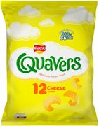 Walkers Quavers Cheese Flavour Light Curly Potato Snack 12X16G HALF PRICE