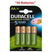 40x Duracell Ultra AA Double a 2500mAh Rechargeable Battery