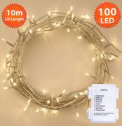 Fairy Lights 100 LED 10m Warm White Battery Operated - Save £6