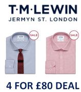 T M Lewin Shirts Sale - 4 for £80 Deal - Mix & Match